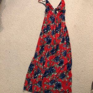 Forever 21 red floral maxi dress